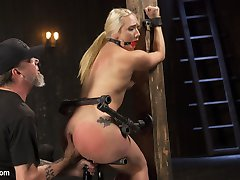AJ is a stunning, all natural slut with ass for days. She isn't much of a pain slut, but this bitch can handle the bondage, and is horny as hell. The Pope strikes a deal with AJ that will allow her all of the orgasms she can take, on the condition that she has to be tormented. She endures his sadistic brutality to the point of tears, and then he violates her holes and almost gets his entire fist in side of her whore hole.