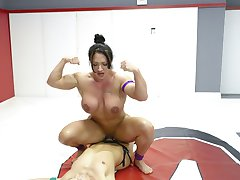 Big legs, Big Asses, Big Muscles. Cheyenne Jewel and Brandie Mae put on a true display of power and skill. One of these muscle babes cums hard on the mat and is fucked hard with a strap on, made to do muscle worship and then lift and carried off for more punishment.