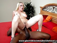Blonde slut Layla Jade bends over while black cock doggy fucks her