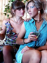 Fiery lesbian babes exchanging tongue job pushing aside their lovely thongs