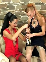 Lusty babes in extraordinary stockings taking turn to put to work dildo toy