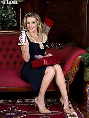 Blonde babe Vanessa shows her shaved snatch in vintage nylons! Merry Christmas!