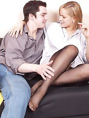 Kinky guy can get off from one sight at seductive feet clad in black tights