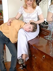 Kinky neighbor fervently petting well-maintained feet clad in tan pantyhose