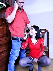 Red hot vixen in slate lacy stay-ups gets packed with meat after a blowjob