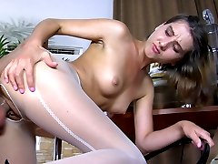 Hot babe caresses her long legs in white FF hose before a hardcore twosome