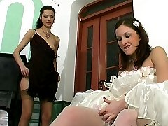 Hot bride in white stockings savoring strap-on amusement for the last time