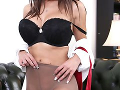 Lou Lou awaits on the couch, wearing one of your shirts, your tie around her neck, with just tan pantyhose and heels!