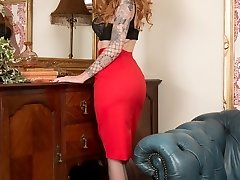Alexa flaunts her black sheer nyloned legs and neat trimmed ginger pussy, in as an arousing...