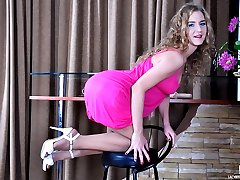 Cute doll hikes pink dress for anal dildo toying in her gartered stockings