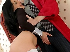 Nasty girl makes up with her pussy for smoking and wearing professors robe