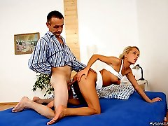 Tanned young blonde caught cheating with the pervy father of her own boyfriend