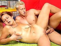 Hot young pussy sits on the young dick and she takes every inch up into her slutty hole