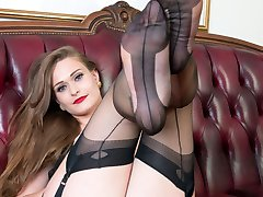Honour has kitted herself out in a rare vintage corselette, sheer black vintage nylons and her...