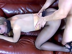 Freakish gal blows and rides her guy in her full-body pantyhose encasement