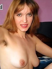 Chick shoots her hairy cunny and boobies