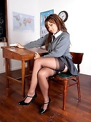 Dusky teen strips to panties and nylons in class