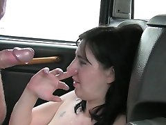Big tits amateur customer fucked and facialed by fake driver