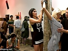 Courtney Taylor is the main attraction in this gallery. Art students join in the spectacle as this huge titted blonde gets fucked, manhandled and disgraced.  Rope bondage, riding crop, deep throat, rough sex and humiliation. Check out this unusual event.