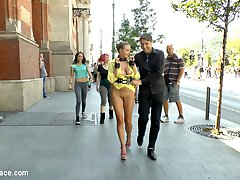 Steve Holmes is out with his latest slave Candy Alexa! She is a gorgeous busty blonde bombshell and she gets her huge perfect tits out in public for all the crowds to see! What could make this better!? Well out for a walk we run into Proxy Paige and Carolina Abril! These two sluts want in on all the action!!! Steve takes all of them to a restaurant filled with horny customers. Everyone gets their hands full of tits while this public sex party gets started! Do not miss Candy in leather bondage, nipple clamps, and corporal punishment! She gets drenched in cum while Proxy and Carolina join in!