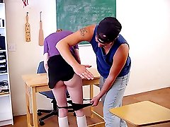 Innocent blonde teen ass spanked by classmate in detention