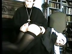 Caned in the cloisters - naughty nun bares her ass for a spanking and the cane