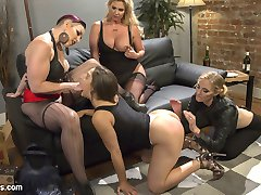 Hot tough chicks Mona Wales and Mistress Kara close up the bar and head to the tail end of an...