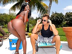 Check this hot big booty ebony babe get fucked hard by the pool after a cock sucking in these...