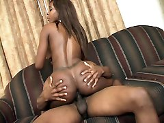 Sexy ebony model Solana takes cock cramming and hard bottoming before finishing off with a cum...