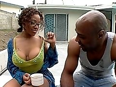 Luscious black milf gets fucked with facial
