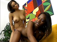 Black babes Jazmyne Sky and Alicia Tyler alternately pumping each other with a strapon dildo