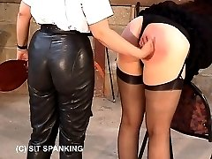 Horny redhead bent over in pain for severe strapping - swollen welted buttocks
