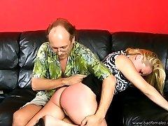 Spanked on the sofa with her little white panties ripped off