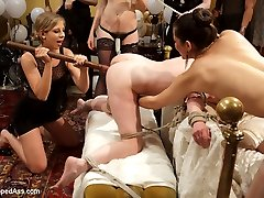 If you didn\'t catch this PUBLIC ALL GIRL ORGY live you are in for a treat! We have all the hottest action packed footage edited down in one nice hot lesbian orgy package for your viewing pleasure! Whipped Ass and Electrosluts united to throw Justine Joli the biggest sexiest lesbian BDSM orgy she could dream of! Watch as Justine makes all her fantasies come true by being spanked by a room full of stranger, getting fucked by a room full of strangers and flogged, clamped, humiliated and fisted in one intense lesbian BDSM orgy extravaganza! All the ladies were horny, all the ladies were hot! This is one live and public birthday party you do NOT want to miss!Don\'t forget to check out Electrosluts.com to see all the hot electrosex action!