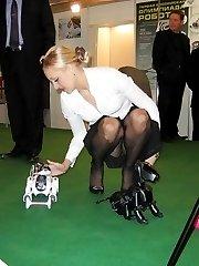 Sexy upskirting on camera