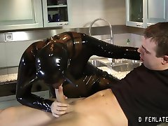 Hardcore szene in tight rubber and latex
