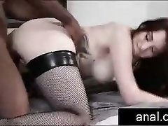 busty redhead emo girl gets her pussy railed by black man