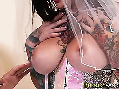 Busty emo bride railed