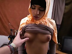 Hot Arab teen bangs deep in her tiny  pussy