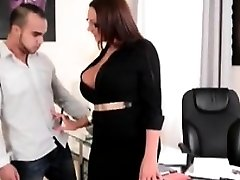 Busty milf secretary sucking boss big-cock