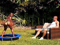 Super sexy golden bikini ebony chick gets rammed hard after playing on the backyard trampoline...