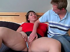 After the fat babe rides him with her BBW pussy he pulls out and cums on her face and mouth