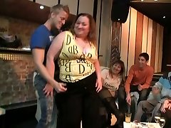 The fat bitches are sucking cock and stripping at this BBW party and the guys love them