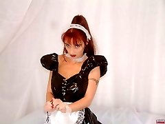 Nasty maid in black latex