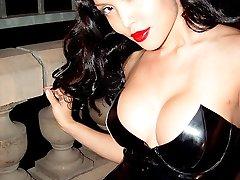 sassy Asian beauty in skintight latex dress