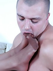 Hot guy licks gals high heels before exploding his cum on her nyloned feet