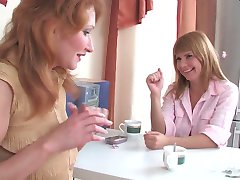 Two office babes playing kinky lez games French kissing and using strap-on
