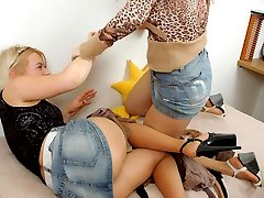 Vivacious chicks enjoying sheer nylon while playing with expensive hosiery