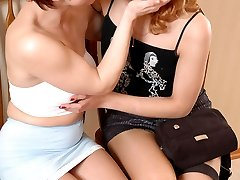 Lewd nurse in tan tights surrenders to breathtaking lesbian games in 3some