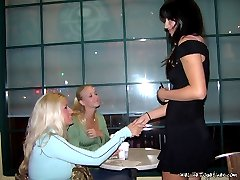Brunette tastes blonde busty pussy